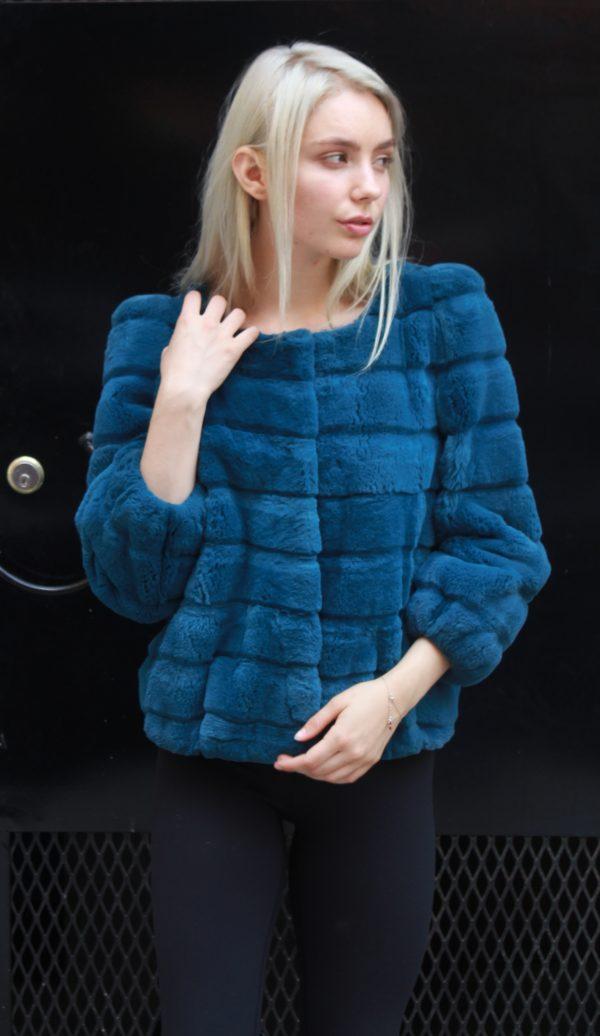 Blue Rex Horizontal Cut Rabbit Jacket Size 4-6