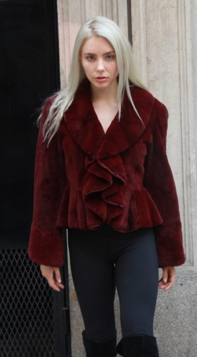 Burgundy Rex Fur Jacket Ruffles