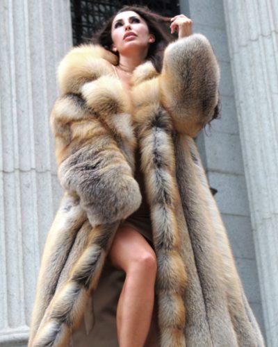 Sexy Full Length Golden Island Fox Coat