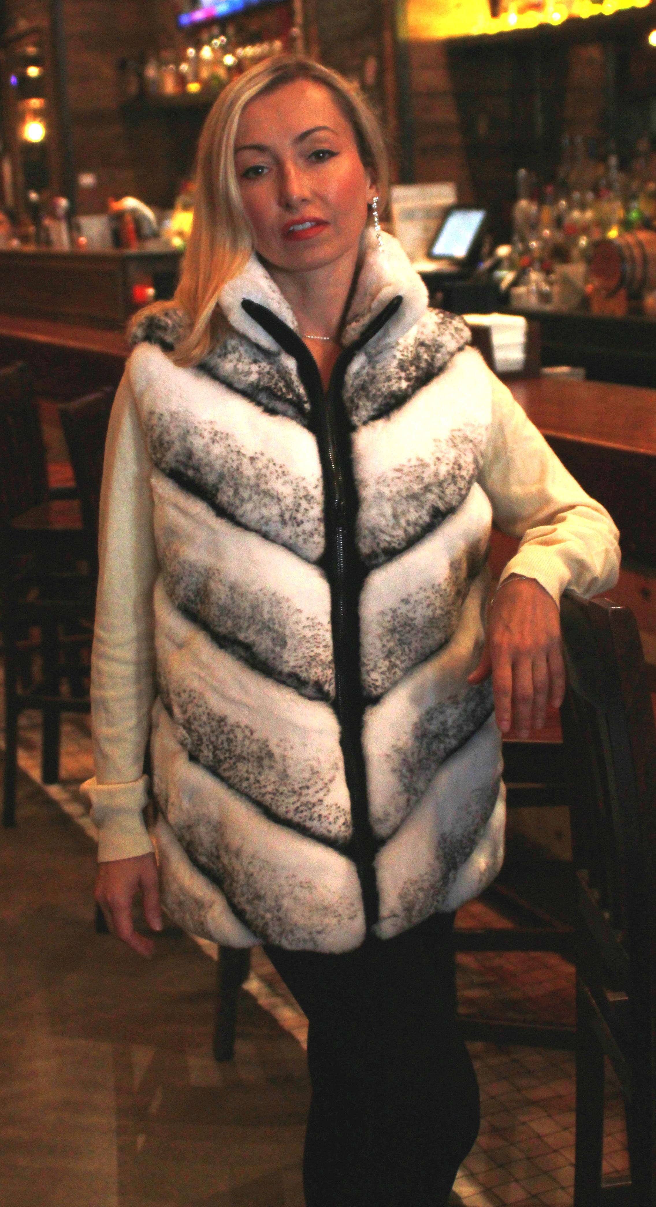 Causal White Cross Rex Fur Reversible Vest