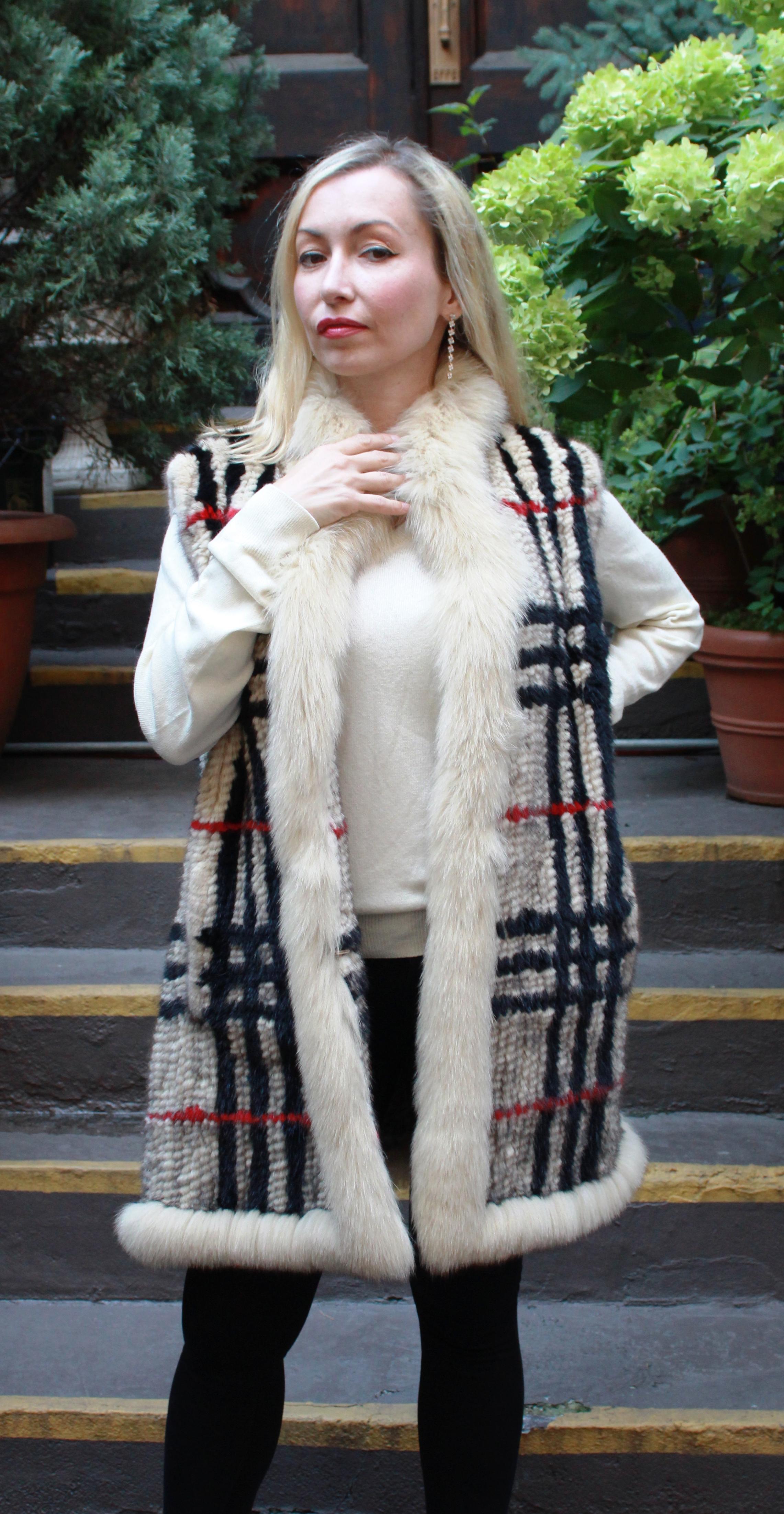 Designer Beige Black Red Knit Mink Vest
