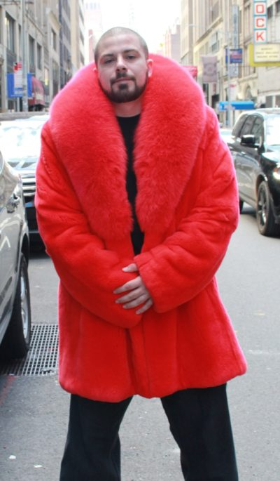 Men's Red Rex Rabbit Stroller Red Fox Collar