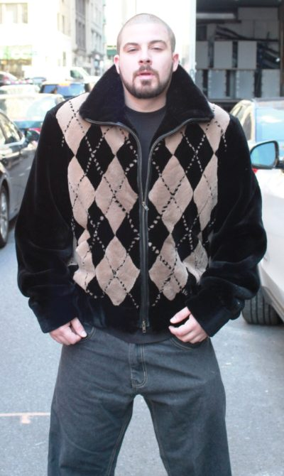 Men's Black Taupe Argyle Sheared Beaver Jacket