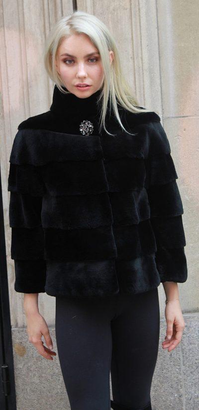 Amazing Black Sheared Rex Rabbit Fur Jacket