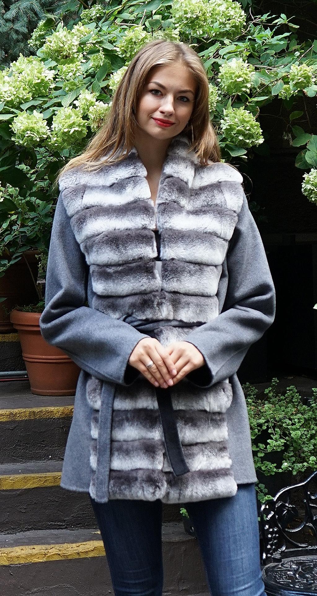 Grey Wool Jacket Rex Rabbit Fronts