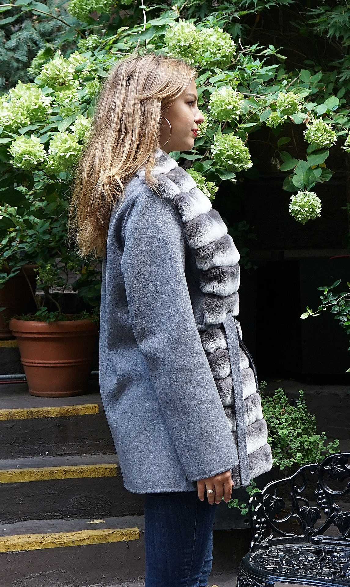 Grey Wool Jacket Rex Rabbit Fronts