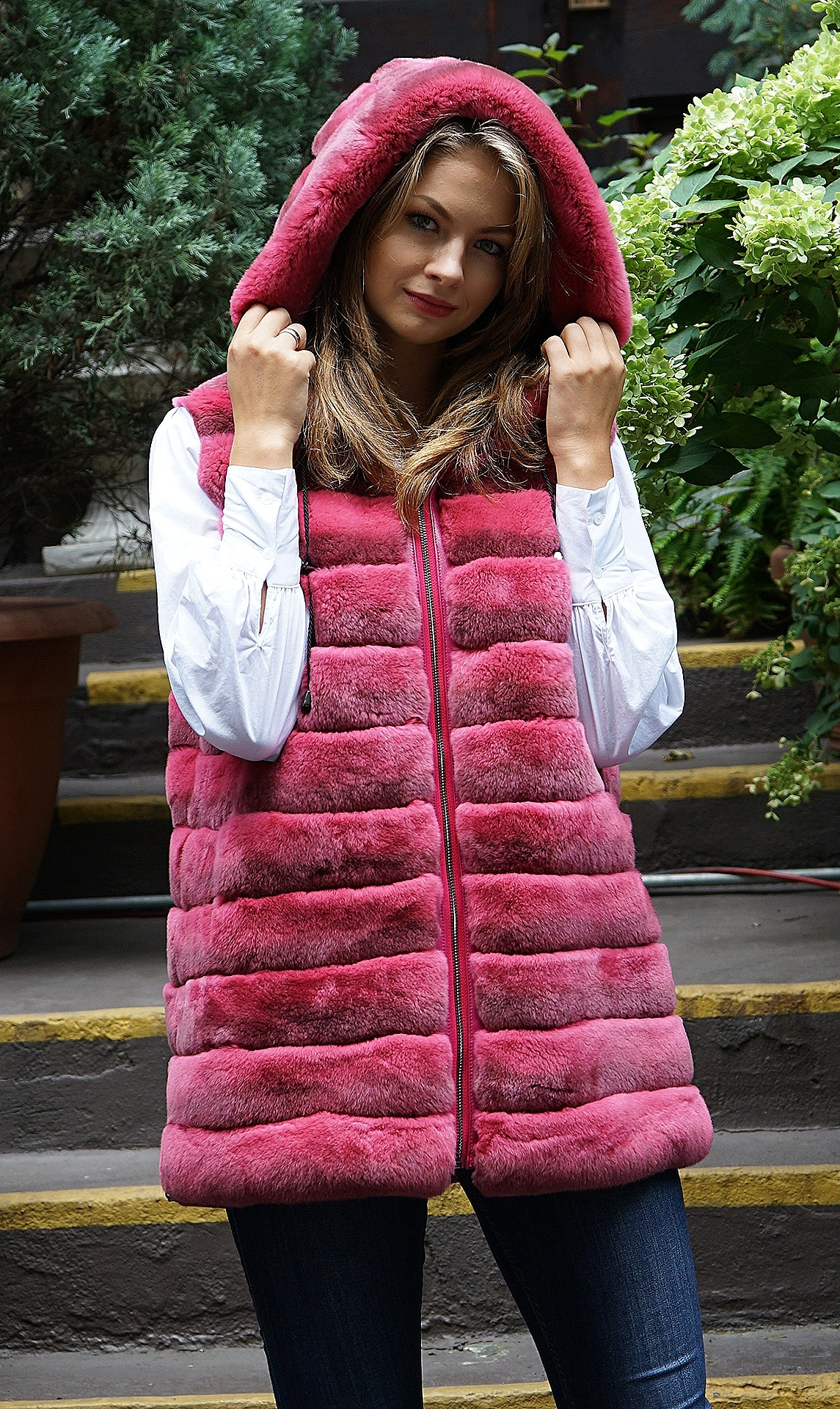 Dark Pink Rex Rabbit Hooded Vest