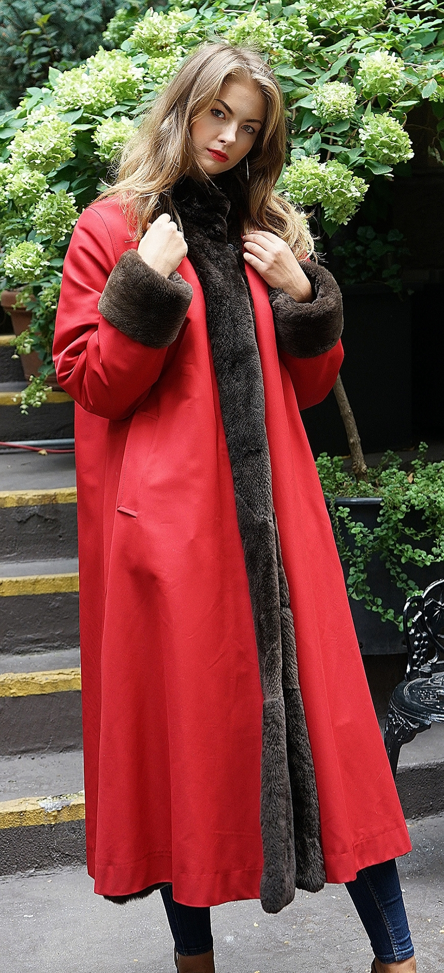 Red Gabardine Coat Sheared Nutria Reversible