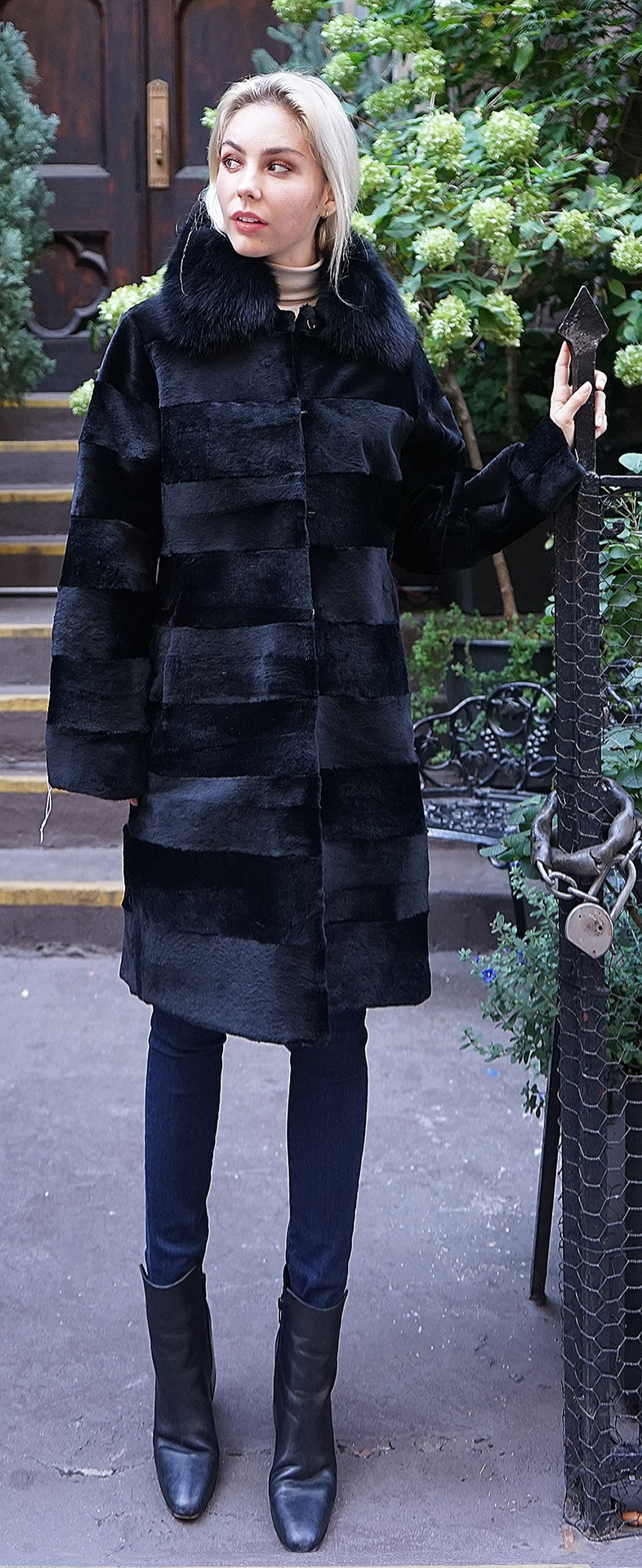 Black Rex Rabbit Coat Black Fox Collar