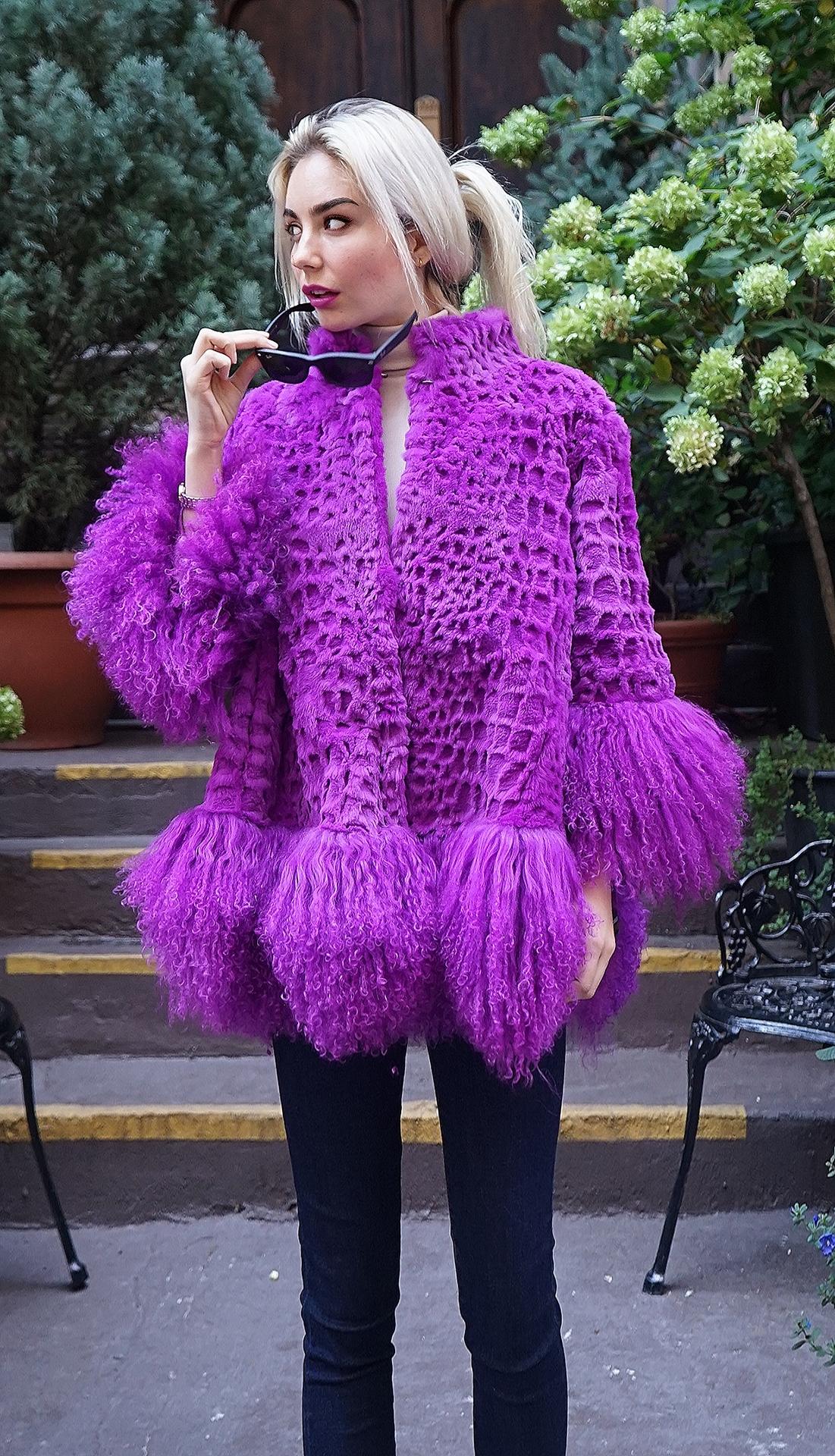 Purple Rabbit Jacket Tibetan Lamb Trim
