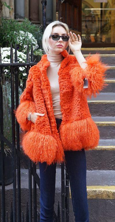 Orange Rabbit Jacket Tibetan Lamb Trim