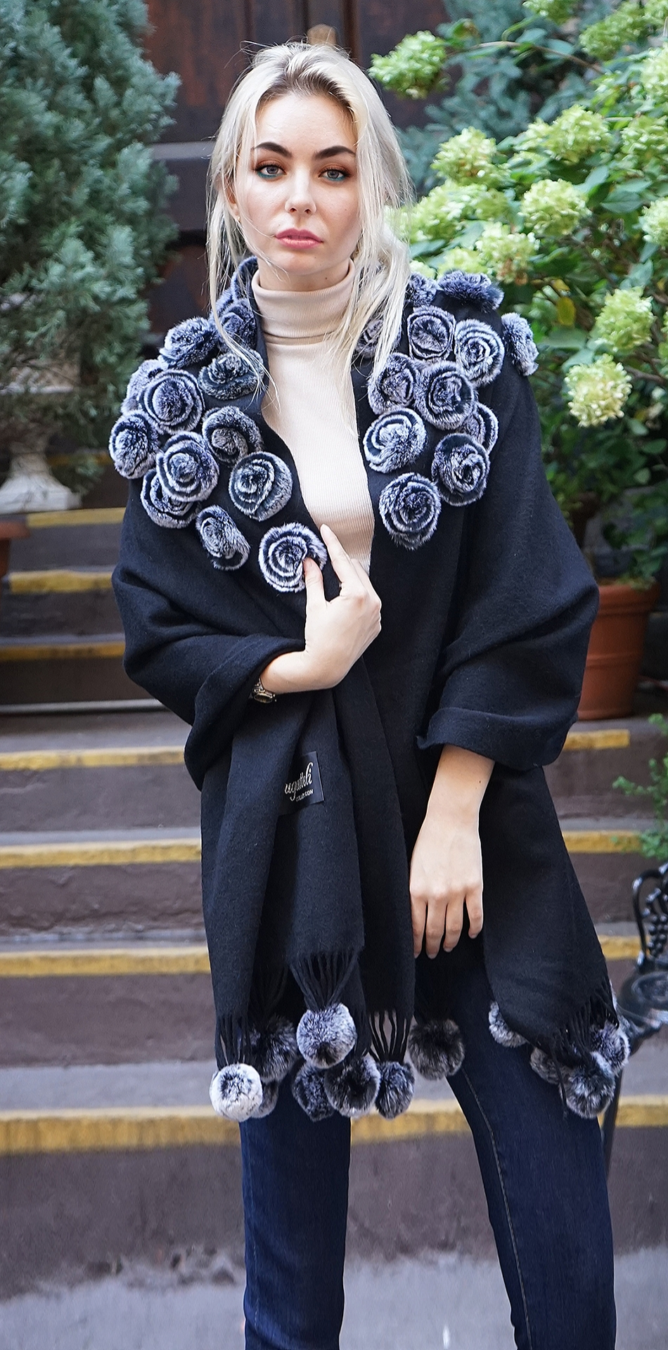 Black Wool Cashmere Cape Rex Rabbit Flowers