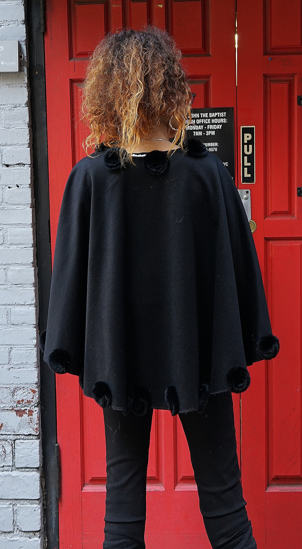 Black Cashmere Wool Cape Rex Rabbit Fur Flowers