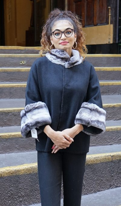 Cashmere Wool Cape Rex Rabbit Cuffs & Collar