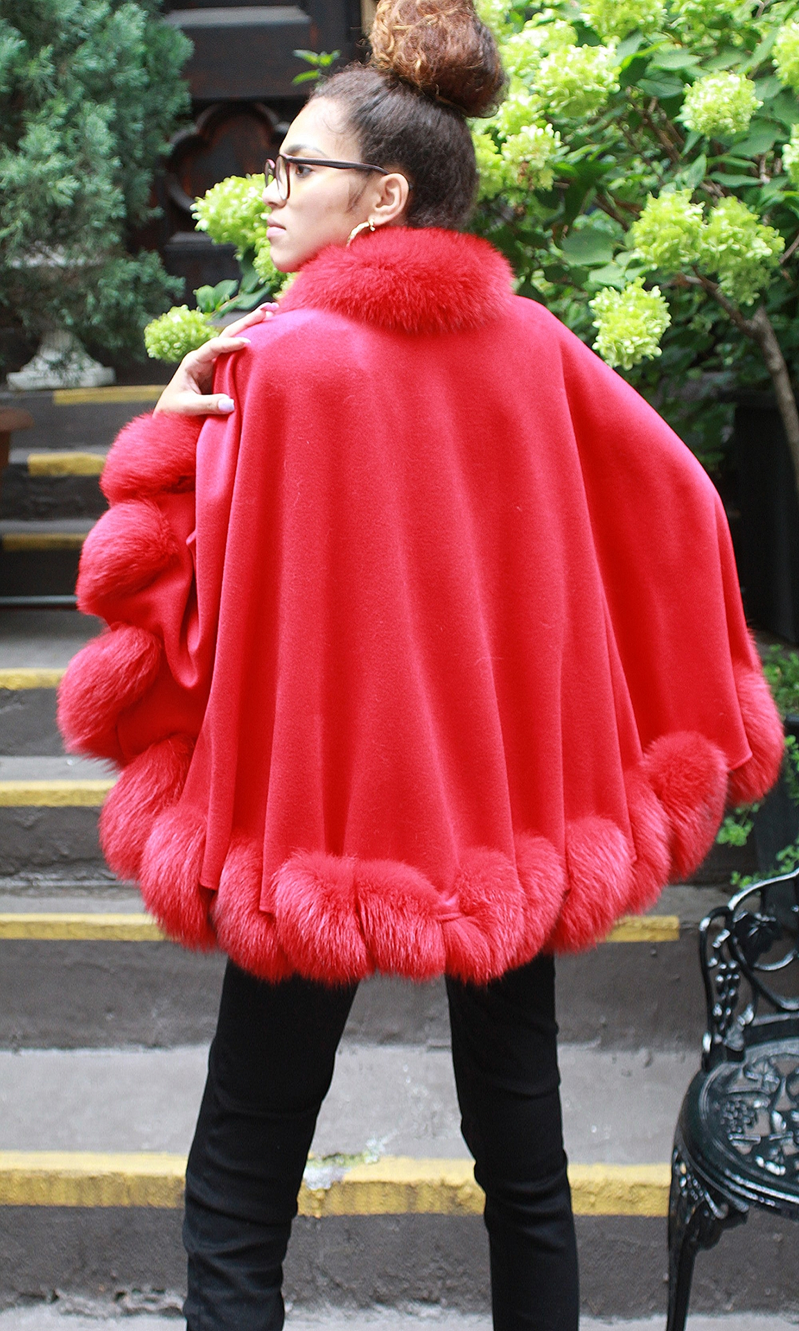 Red Cashmere Wool Cape Twisted Red Fox Trim