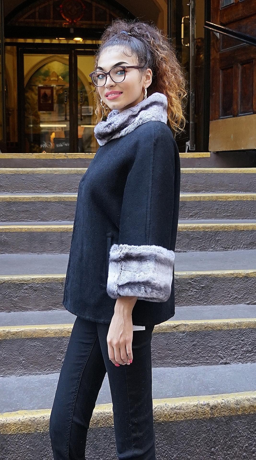 Cashmere Wool Cape Rex Rabbit Cuffs & Collar