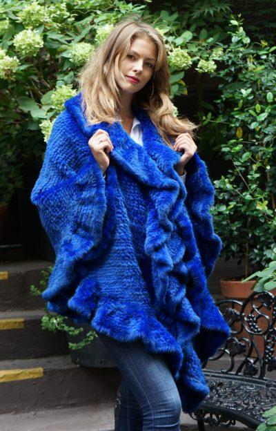Royal Blue Knit Mink Poncho Ruffles