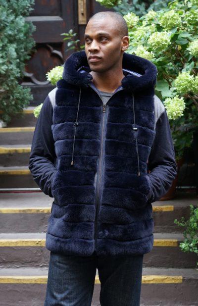 Men's Navy Blue Rex Hooded Fur Vest