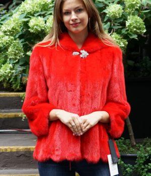 Red Mink Jacket Hooded