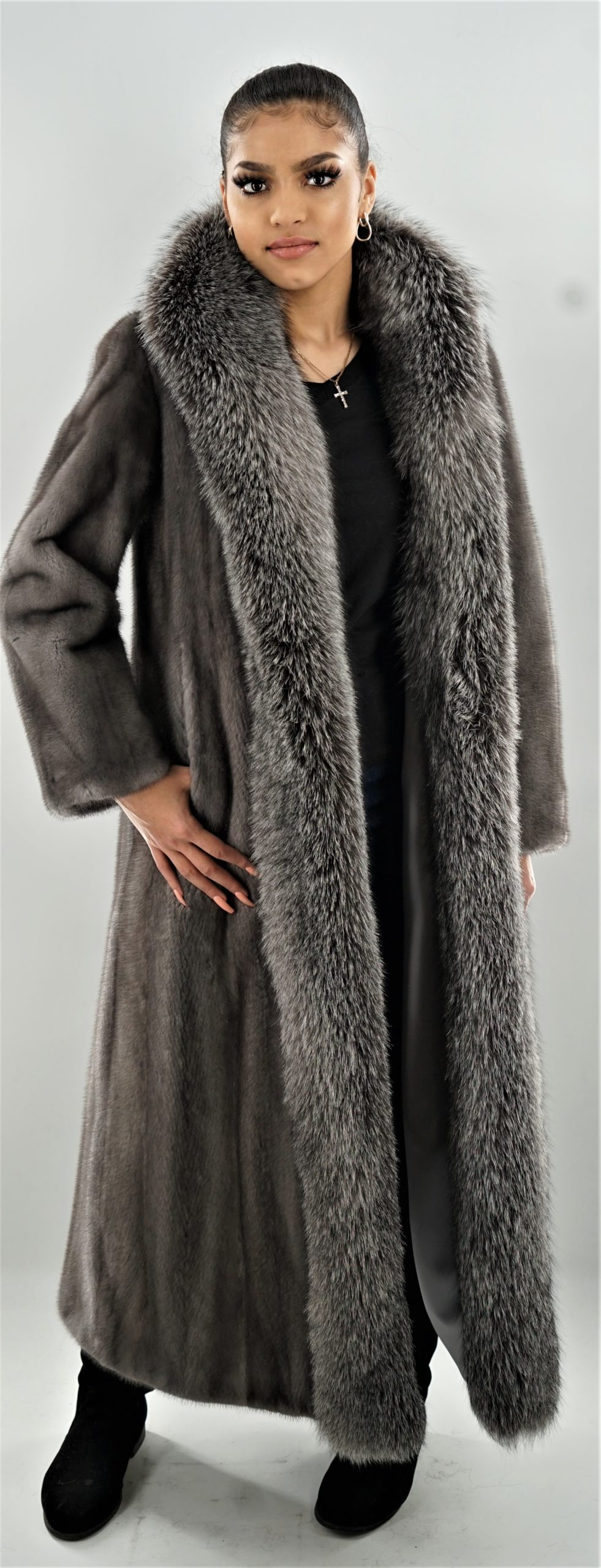 Blue Iris Mink Coat Indigo Fox Fronts