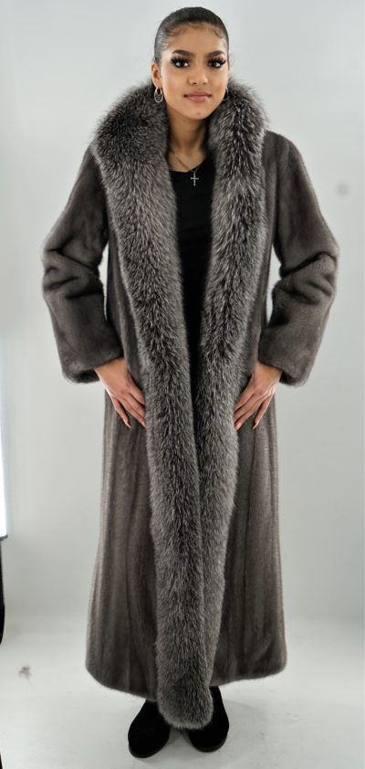 Blue Iris Mink Coat Indigo Fox Fronts