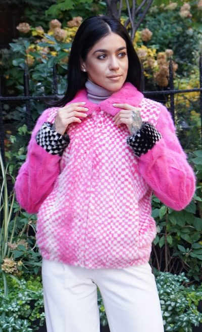 Pink White Mink Jacket Checker Board