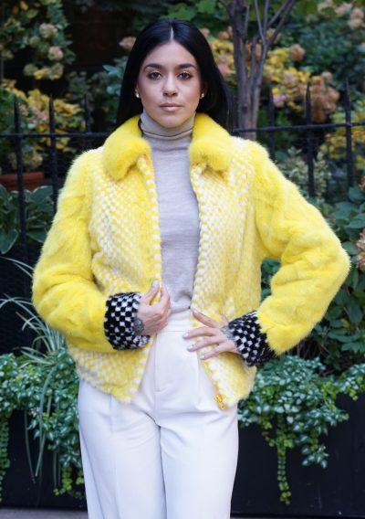 Yellow White Mink Jacket Checker Board