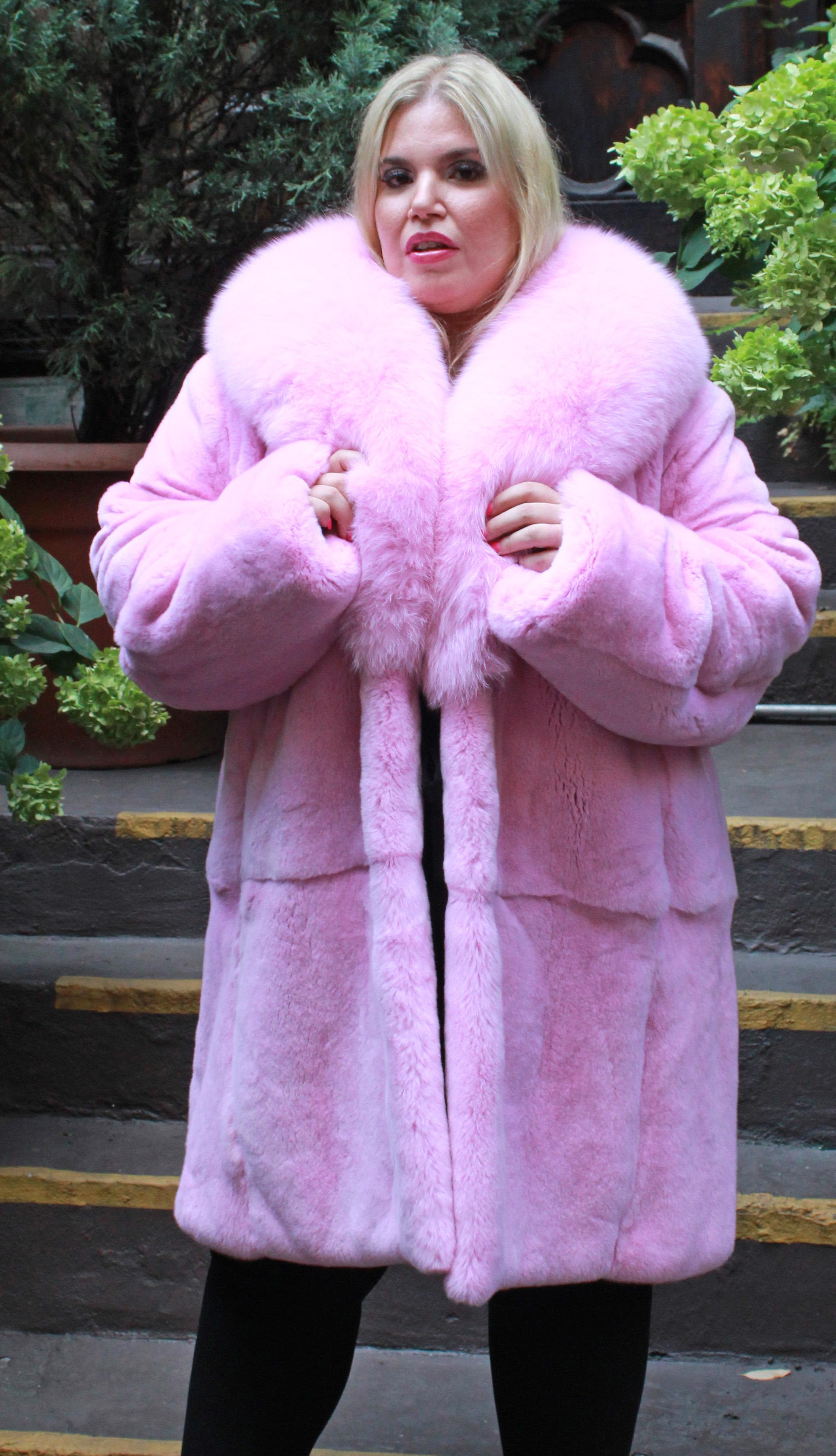 Plus Size Pink Rex Rabbit Stroller Fox Collar