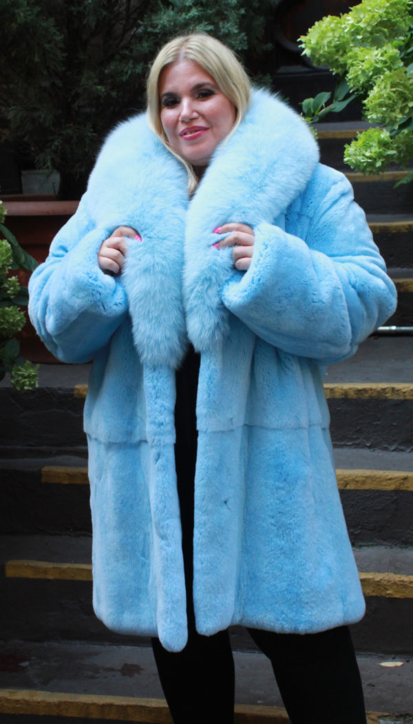 Sky Blue Rex Rabbit Fur Stroller Fox Collar