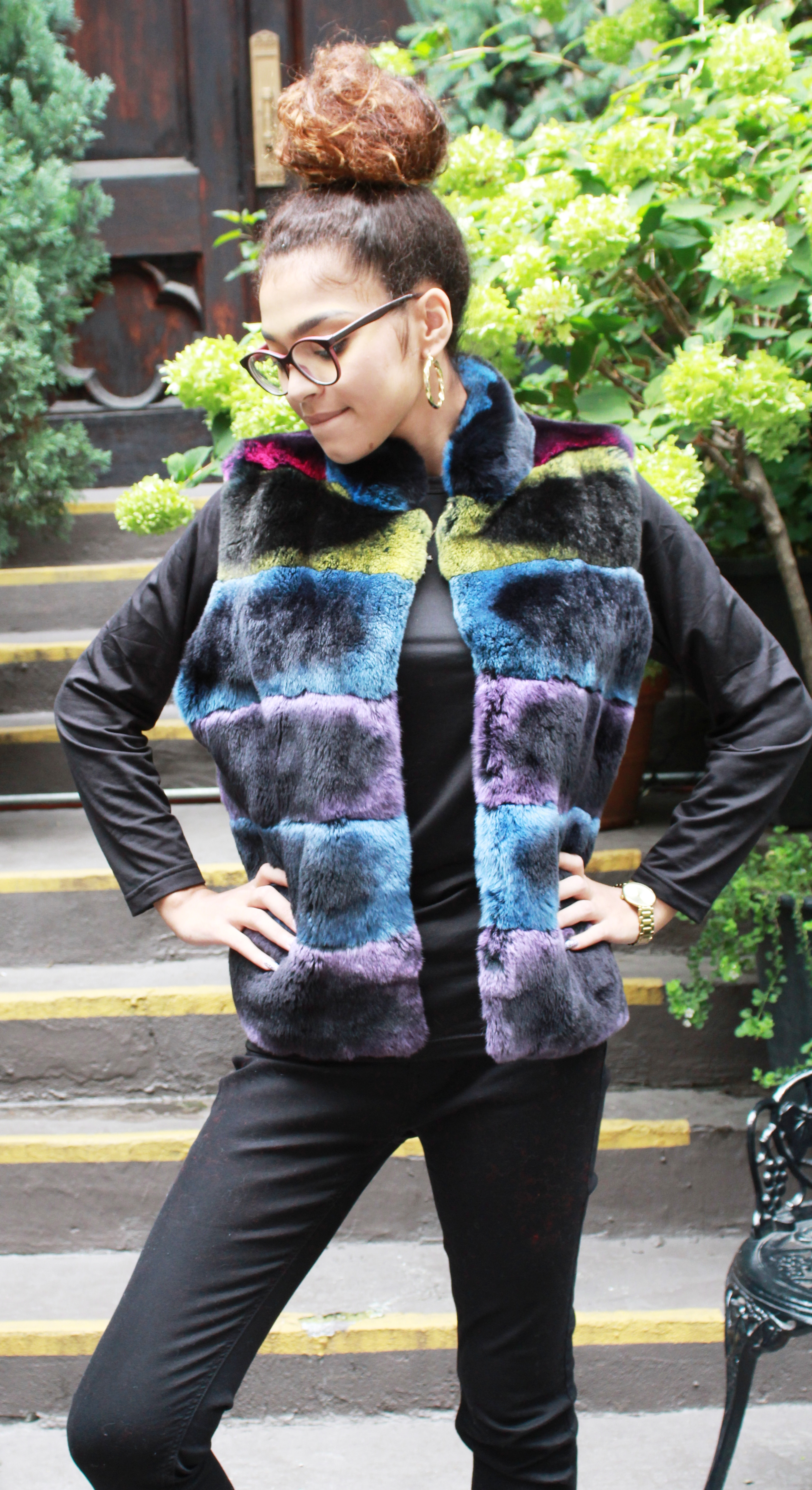 Multi Color Rex Rabbit Fur Vest