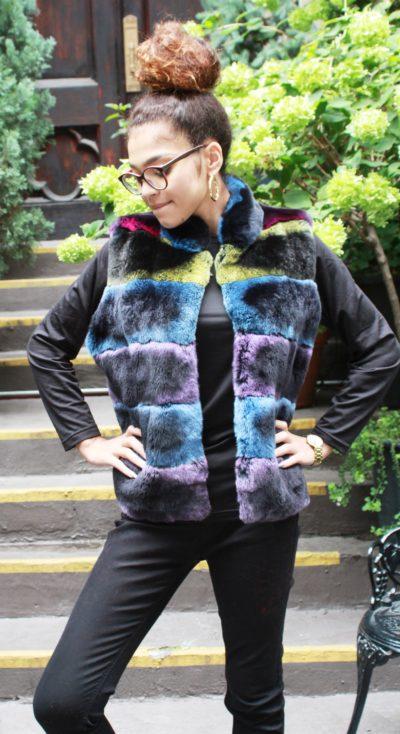 Multi Color Rex Rabbit Fur Vest