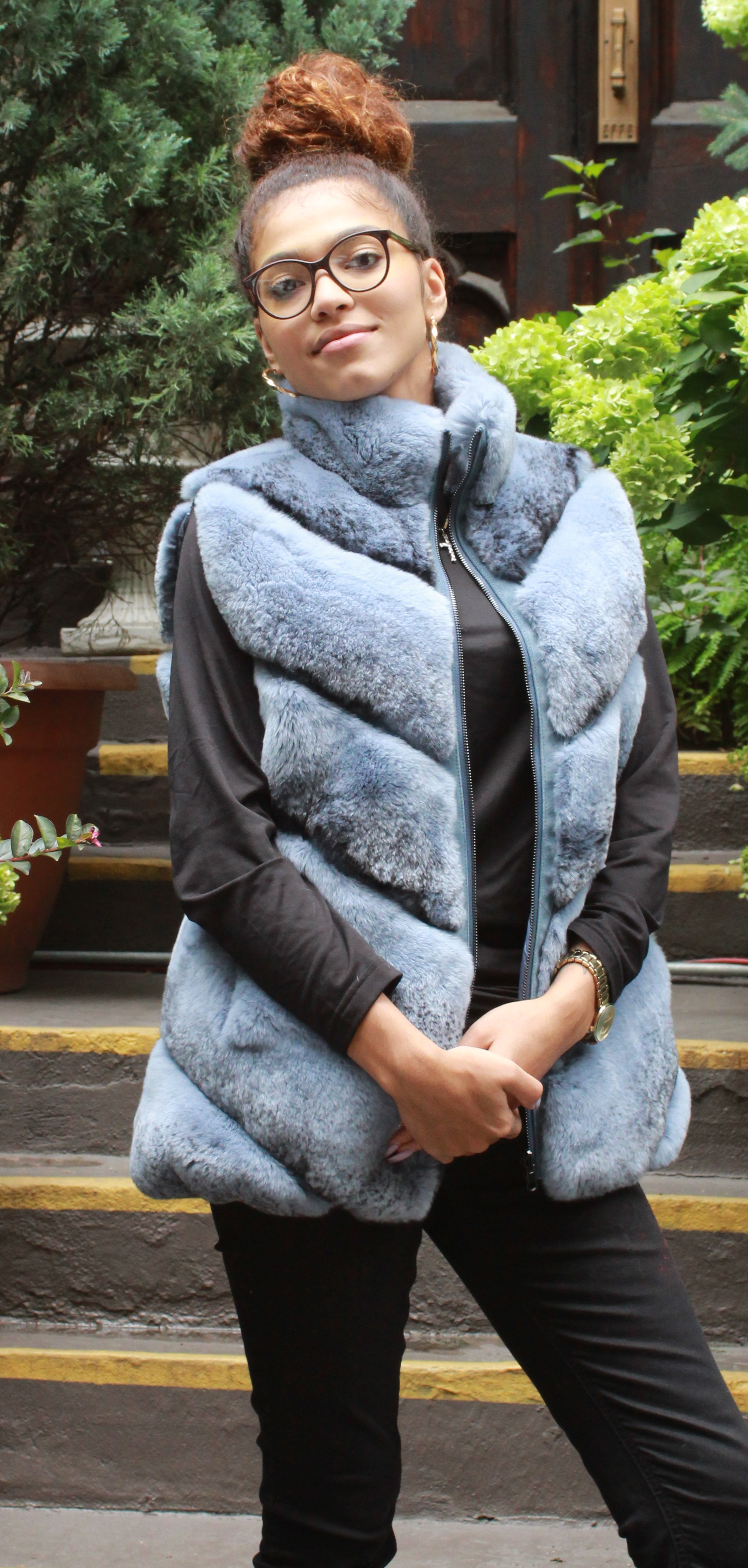 Blue Gray Rex Rabbit Fur Vest Reversible