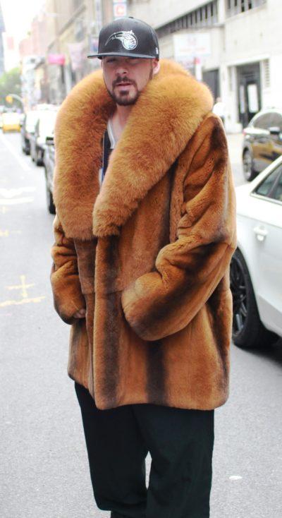 Men's Cognac Rex Rabbit Fur Stroller Fox Collar