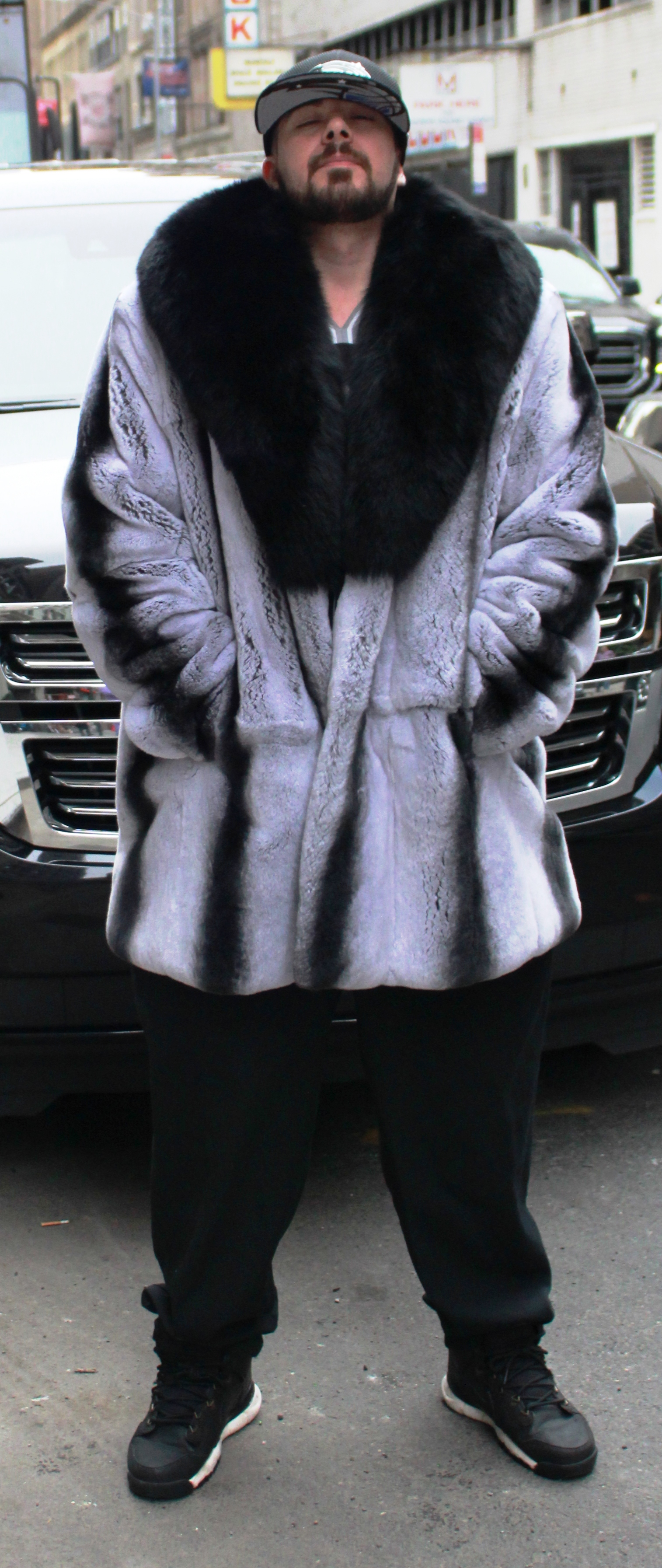 Men's Gray Rex Rabbit Stroller Black Fox Collar