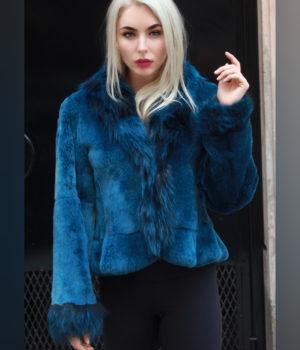 Sexy Blue Rex Rabbit Jacket Fox Fronts