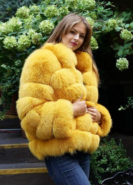 Yellow fox fur jacket