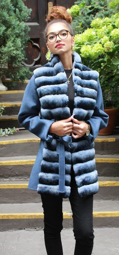 Blue Wool Jacket Rex Rabbit Horizontal Fronts Belt