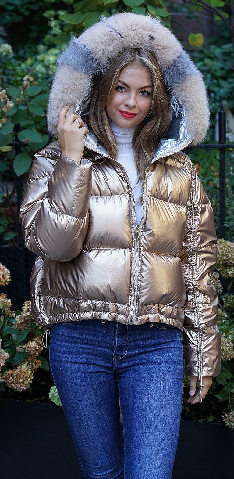 Gold ski jacket fox trim