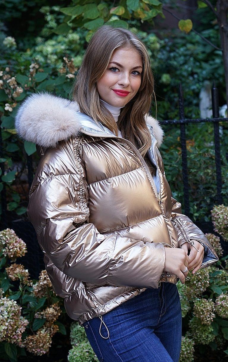 Gold fox fur trim jacket