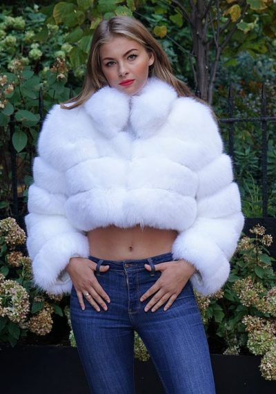 Short Bolero White Fox Jacket