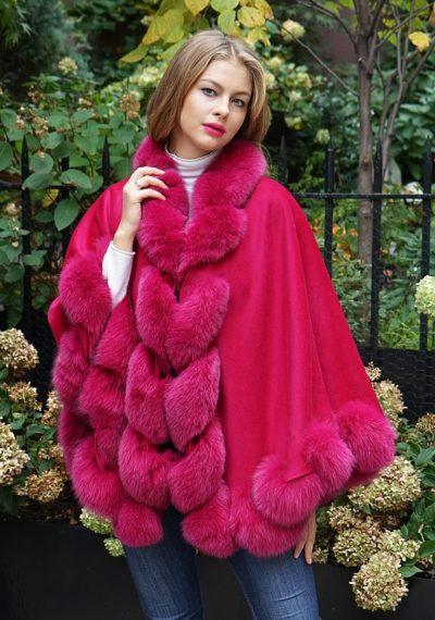 Cashmere cape fox fur trim