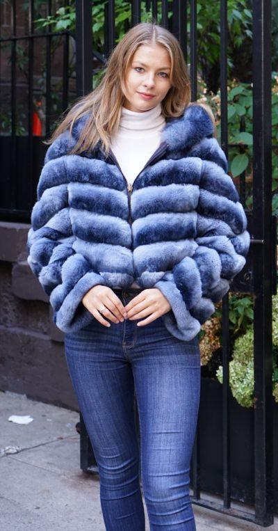 Blue Rex Rabbit Jacket Hood Reversible