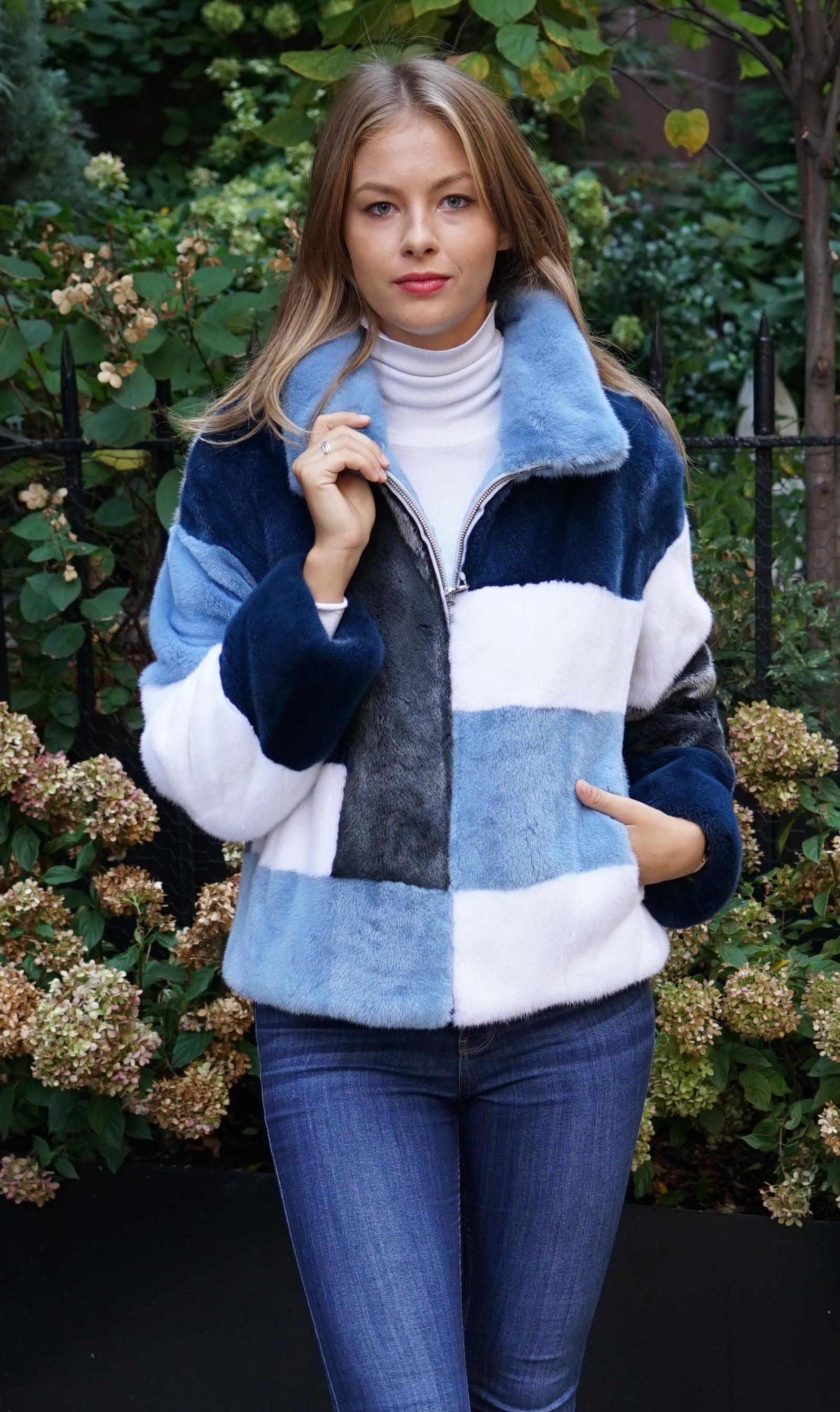 Blue White Silver Mink Jacket