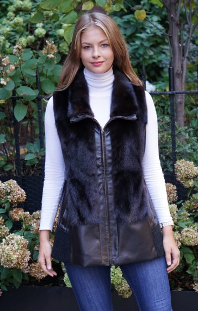 Mahogany Mink Vest Leather Trim
