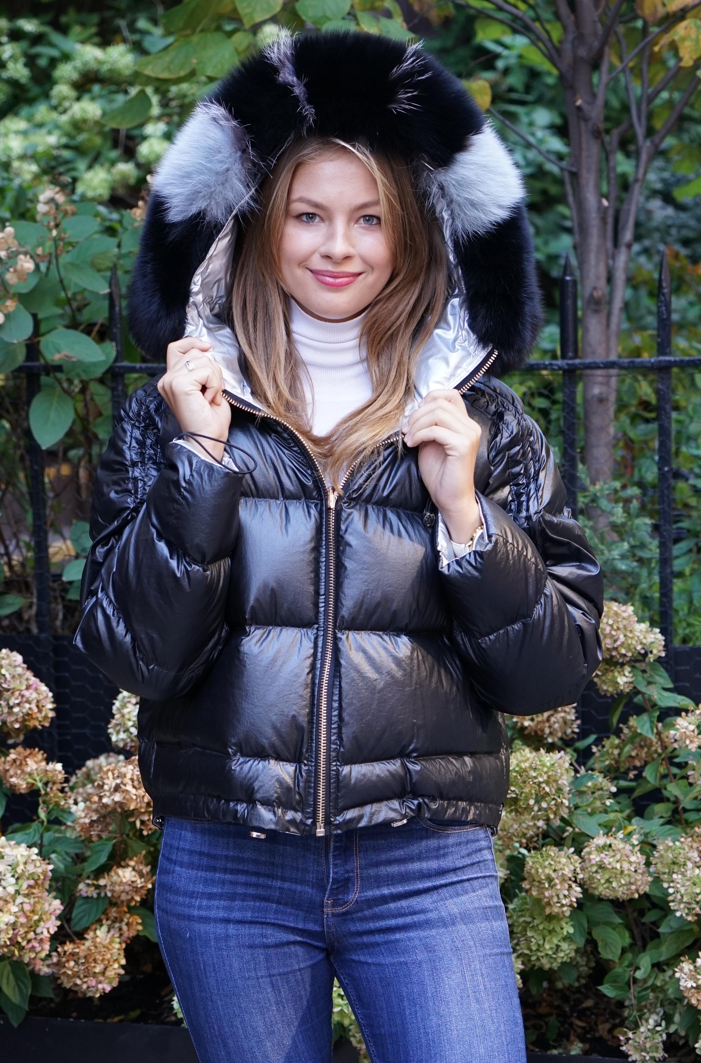 Black Ski Jacket Fox Trim Hood
