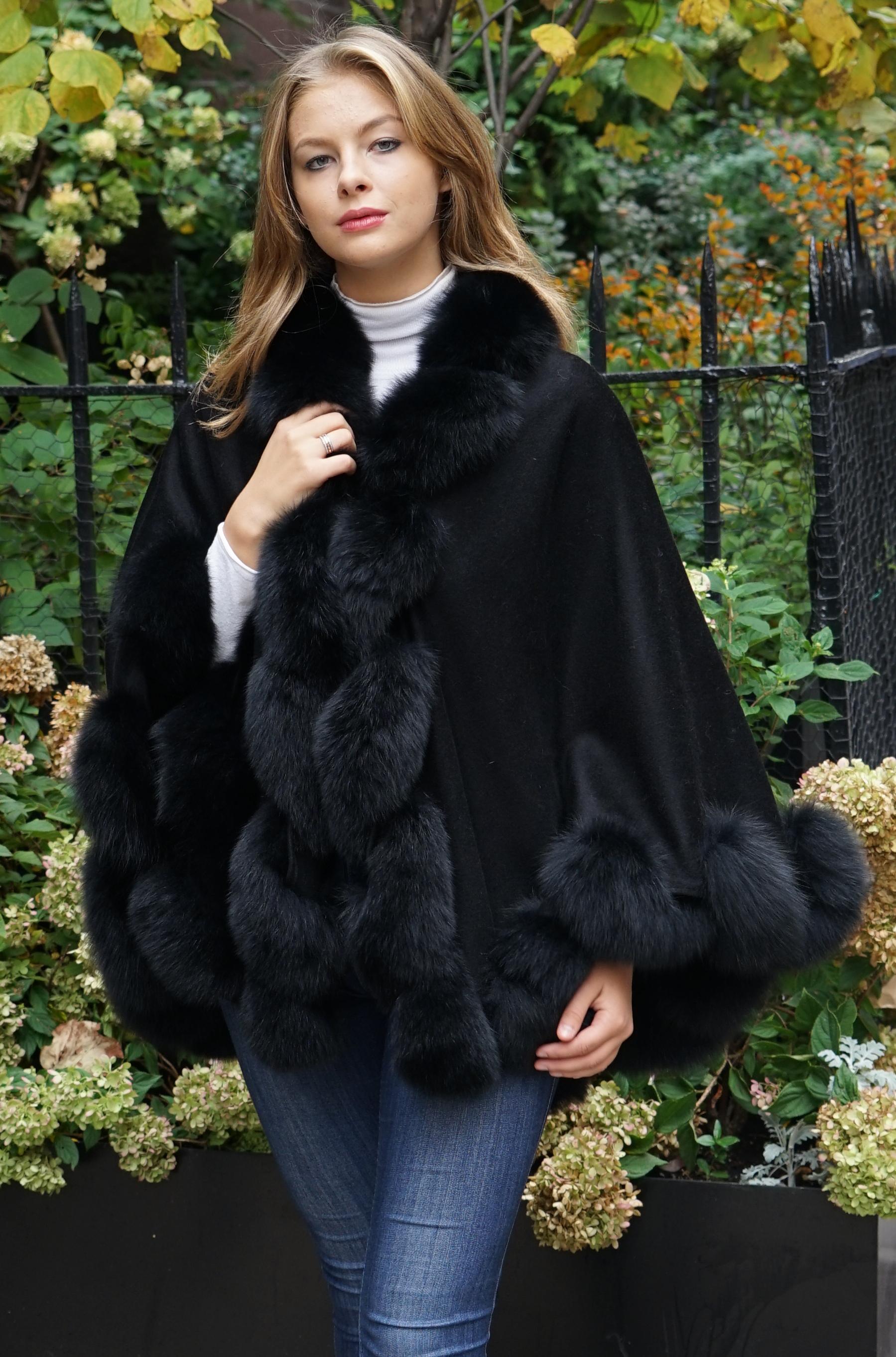 Black Cashmere Cape Black Fox Trim