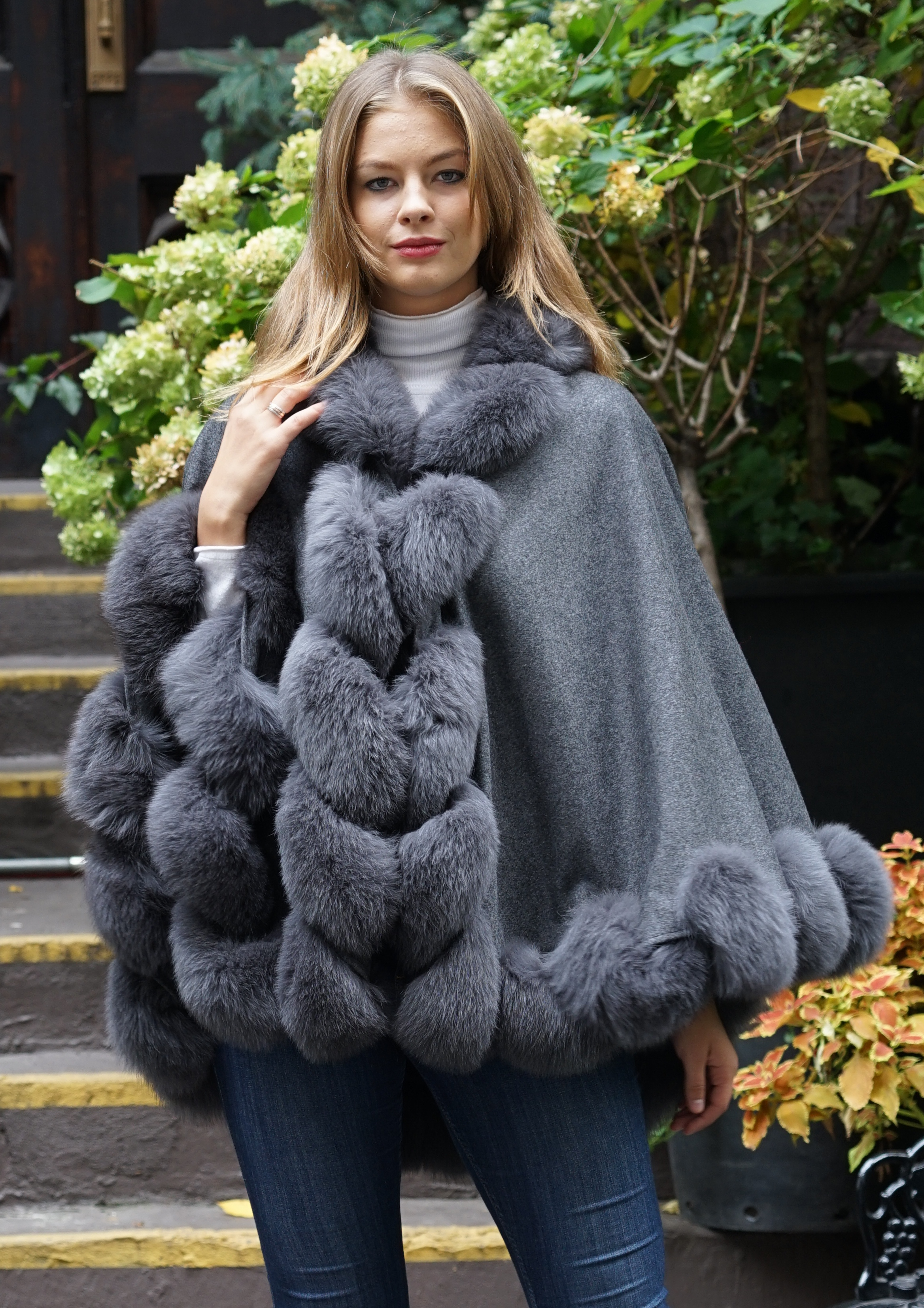 Gray Cashmere Cape Fox Trim
