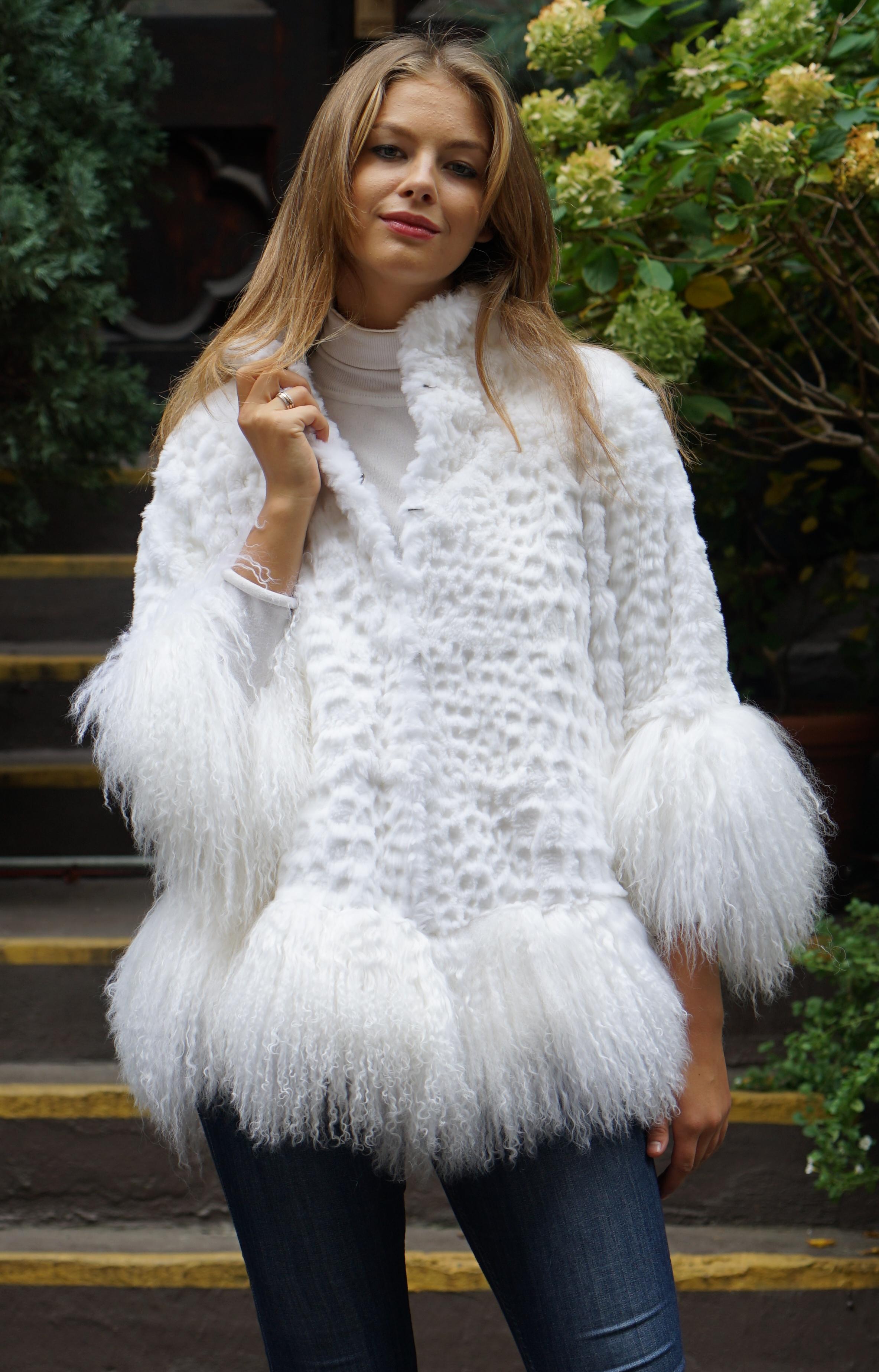 White Rex Lamb Rabbit Jacket