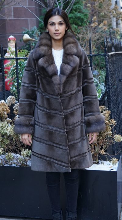 Directional Brown Sheared Mink Stroller Sable Collar