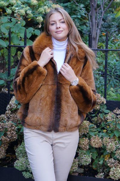 Whiskey Rex Rabbit Bomber Jacket Fox Collar